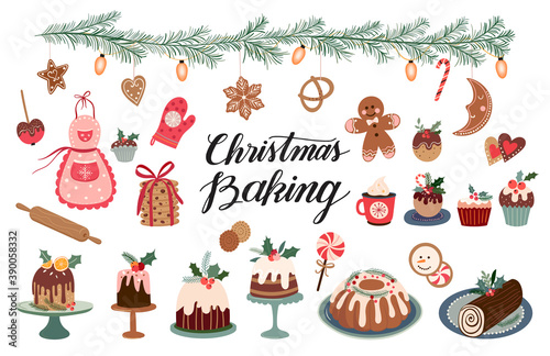 Fototapeta Christmas baking, a collection with seasonal winter desserts, muffins, cookies, gingerbread, rolls, hand lettering, vector design obraz