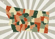 Montana Vintage Map. Grunge Po...