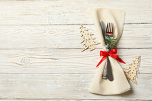 Napkin With New Year Cutlery O...