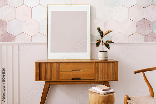 Fotografia, Obraz Picture frame on a wooden sideboard table