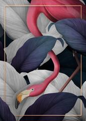 Fototapeta Popularne Tropical flamingo on a golden frame