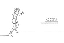 Single Continuous Line Drawing Of Young Agile Woman Boxer Train Her Punch At Sport Gym. Fair Combative Sport Concept. Trendy One Line Draw Design Vector Illustration For Boxing Game Promotion Media