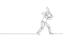 One Single Line Drawing Of Young Energetic Woman Baseball Player Practice To Hit The Ball Vector Illustration. Sport Training Concept. Modern Continuous Line Draw Design For Baseball Tournament Banner