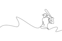 Single Continuous Line Drawing Young Agile Woman Baseball Player Practice To Hit The Ball. Sport Exercise Concept. Trendy One Line Draw Design Graphic Vector Illustration For Baseball Promotion Media