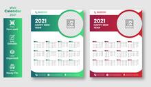 2021 Wall Calendar Template Design In Editable Illustrator Vector File