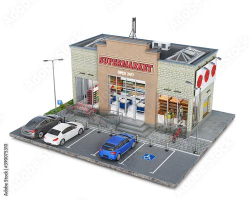 Canvas Print Supermarket building on a piece of ground, 3d illustration