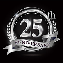 Celebrating 25th Anniversary Logo, With Silver Ring And Ribbon.