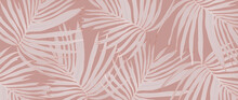 Luxury Gold Palm Leaves Wallpaper. Tropical Leaf Background Design For Wall Arts, Prints,fabric, Pattern And Cover. Vector Illustration.