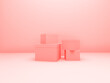 pink coral 3d render geometry product in pink blank room