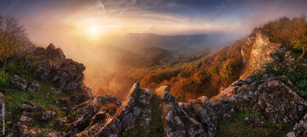 Fototapeta Dramatic sunrise in mountains with fog and sun - landscape panorama, Slovakia