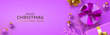 Christmas Banner. Background Xmas Design Of Realistic Lilac Gift Box, Violet Shine Snowflake, Glitter Gold Confetti, Purple Bauble Ball. Horizontal Christmas Poster, Greeting Card, Headers For Website