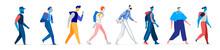 Collezione Di Personaggi Maschili In Diversi Stili. Uomini Che Camminano In Diverse Posizioni Isolati Su Fondo Bianco