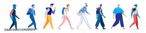 Obraz Collezione di personaggi maschili in diversi stili. Uomini che camminano in diverse posizioni isolati su fondo bianco - fototapety do salonu