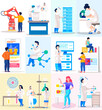 Scientist conducting an experiment in laboratory. Chemical research. Man works with test tubes. Working and analyzing financial statistics. Men work on electronic devices. Graphs and charts scenes set