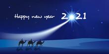Carte De Vœux 2021 Montrant Les Trois Rois Mages à Dos De Dromadaire Se Dirigeant Vers Bethléem Avec Des Cadeaux Pour Célébrer La Naissance De Jésus Christ.