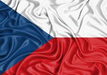 Czech Republic , National Flag On Fabric Texture Waving Background.