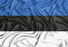 Estonia , National Flag On Fabric Texture Waving Background.