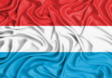 Luxembourg , National Flag On Fabric Texture Waving Background.