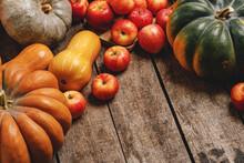 Autumn Harvest Of Pumpkins And...