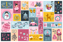 Christmas Advent Calendar With Cute Characters And Festive Elements In Different Shapes, In A Childish Hand-drawn Scandinavian Style. Limited Palette Ideal For Printing.