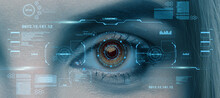 Retina Scan Of Female Eye, Collage With Futuristic Data On Virtual Screen. User Biometrical Identification System