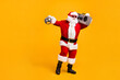 canvas print picture Full length photo of funky santa claus with grey beard hold boom box disco ball x-mas christmas jolly holly eve time party wear headwear red cap isolated yellow color background