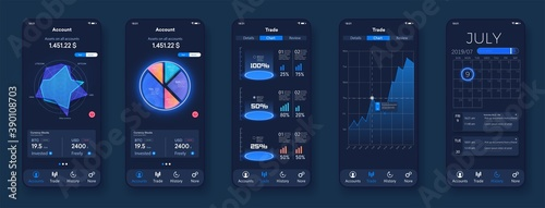 Pie charts, workflow, web design, UI/UX elements. Phone screen with modern dashboard admin analytics, modern diagrams and bars with stock statistics and forecasts.  Scales, graph charts, and diagrams