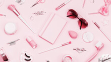 Tender Pink Monochrome Feminine Makeup Tools And Silver Accessories. Brushes Eye Lashes Vanish On Candy Pink. Flat Lay Full Frame Beauty Cosmetics Blogger Advert Pattern Concept. Heart Love Hair Clips