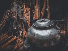 Old Age Tea Pot With Flame Smoke