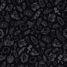 Mystical Vector Seamless Pattern With Hand-drawn Magical And Occult Illustrations. Magic Elements. Graphic Background In Vintage Style. White Elements On Black Background, Chalk On Board