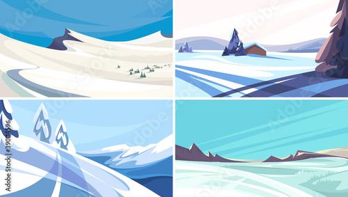 Fotografia Collection of winter landscapes. Beautiful non-urban scenes.