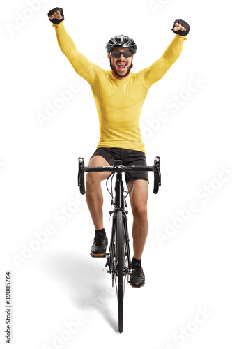 Papel de parede Male cyclist riding a road bicycle towards the camera and gesturing happiness