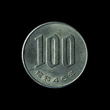 1946 Japanese One Hundred Yen Coin Isolated On The Black Background