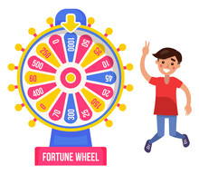 Boy Winner And Fortune Wheel, Money, Risk And Luck Vector. Casino And Opportunity, Prize And Award, Color Circle With Lamps And Pointer, Rotation