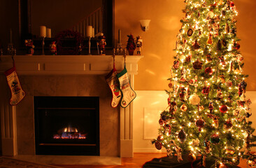 fireplace with christmas tree and decorations