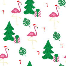 Christmas Flamingo Seamless Pattern Flamingo With Christmas Hat, Tree, Gift, Monstera Leaf On White Background Easy For Paper, Fabric, Christmas Cards, Packing, Invitation, Other Your Designs.