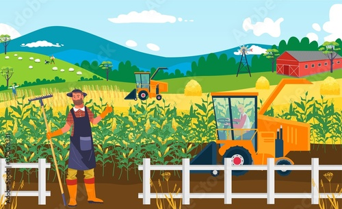 Fototapeta Agriculture crop farm field, vector illustration. Rural man farmer people at countryside nature agricultural harvest. Outdoor cartoon farmland plant, farming male working background. obraz