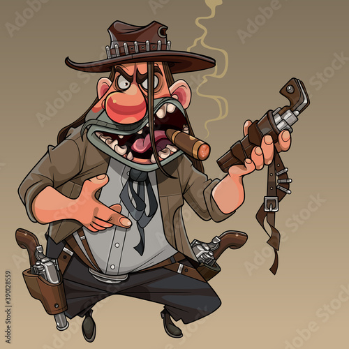 Cuadros en Lienzo cartoon cool man cowboy with revolvers and cigar in his mouth