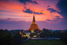 Large Golden Pagoda Located In...