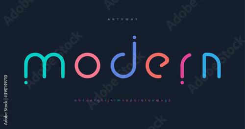 Modern colored font for logo on black background Fototapeta