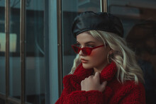 Fashionable Woman Wearing Trendy Autumn, Winter Outfit: Red Cat Eye  Sunglasses, Leather Beret, Faux Fur Teddy Bear Coat, Posing In Street Of City. Close Up Portrait. Copy Space