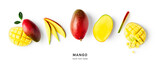 Fototapeta Kawa jest smaczna - Creative banner and collection with mango