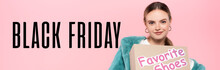 Stylish Woman In Sunglasses Holding Box With Favorite Shoes Near Black Friday Lettering On Pink, Banner