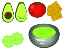Cap Of Guacamole Dip. Ingredients - Avocado, Lime, Red Tomatoes And Nachos. Vector Illustration Isolated On A White Background.