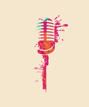 Creative Bright Musical Illustration. Vector Design Of An Abstract Microphone In Form Of Paint Spots And Splashes On A Light Background. Suitable For Banner, Flyer, Invitation, Advertisement, Ticket