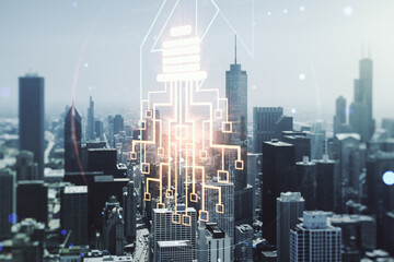 Virtual creative light bulb illustration with microcircuit on Chicago cityscape background, future technology concept. Multiexposure