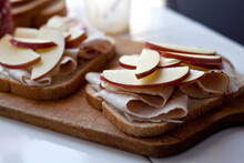 Close Up Of Turkey And Apple Sandwiches With Maple Mayonnaise