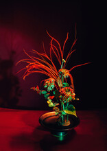 Bouquet Of Flowers In Red Colo...