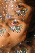 Kaleidoscope Portrait Of Pretty Girl With Crystals On Her Face