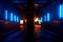 Underground Tunnel Full Of Neons